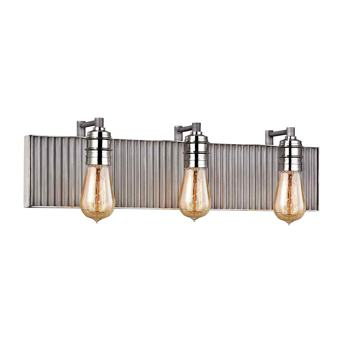 Corrugated Steel 3 Light Vanity in Weathered Zinc and Polished Nickel
