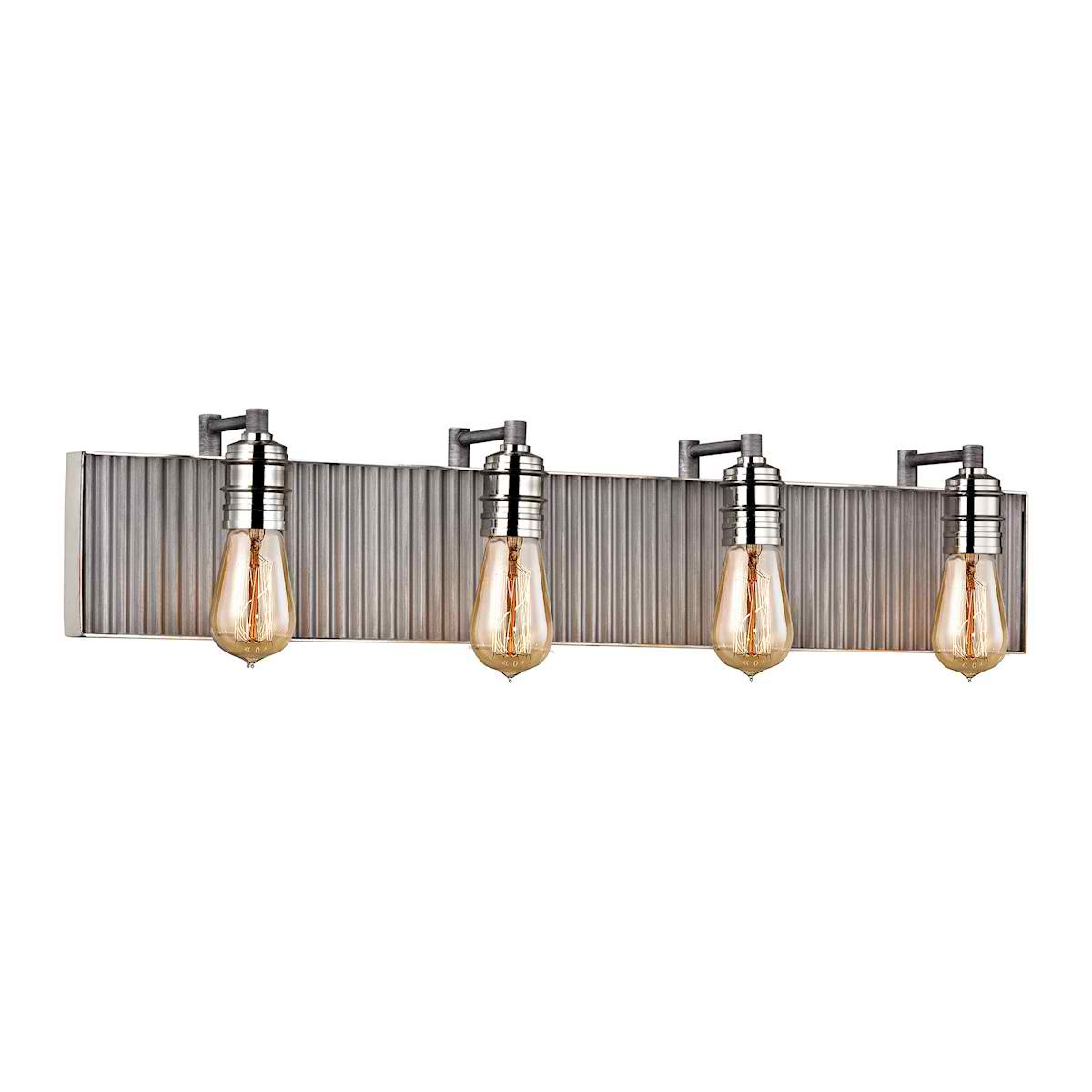 Corrugated Steel 4 Light Vanity in Weathered Zinc and Polished Nickel
