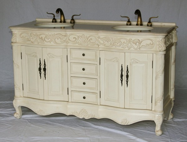 "60"" Adelina Antique Double Sink Bathroom Vanity Antique White Finish with Beige Stone Countertop"