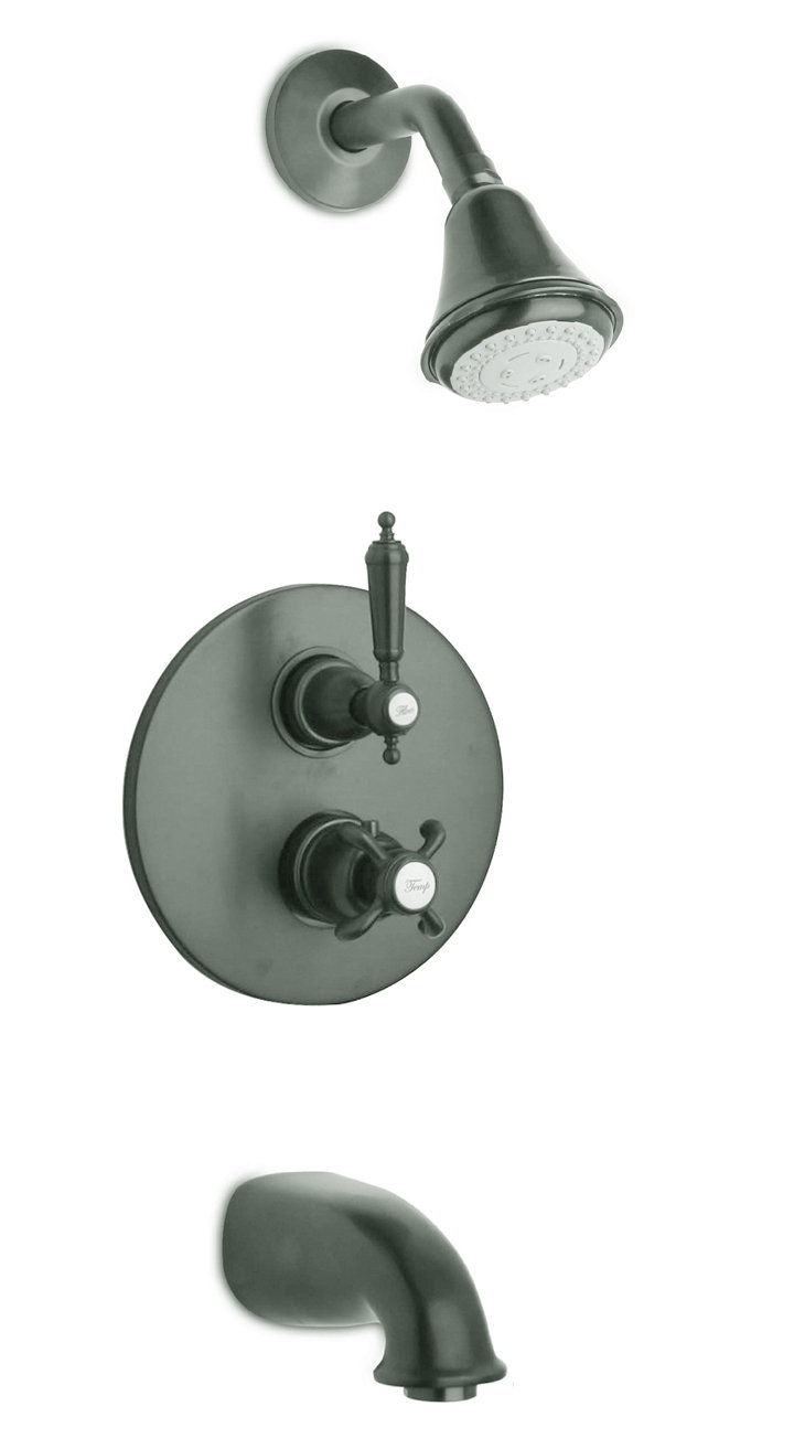 Thermostatic Tub and Shower Set With 2-Way Diverter Volume Control with 3 Color Options