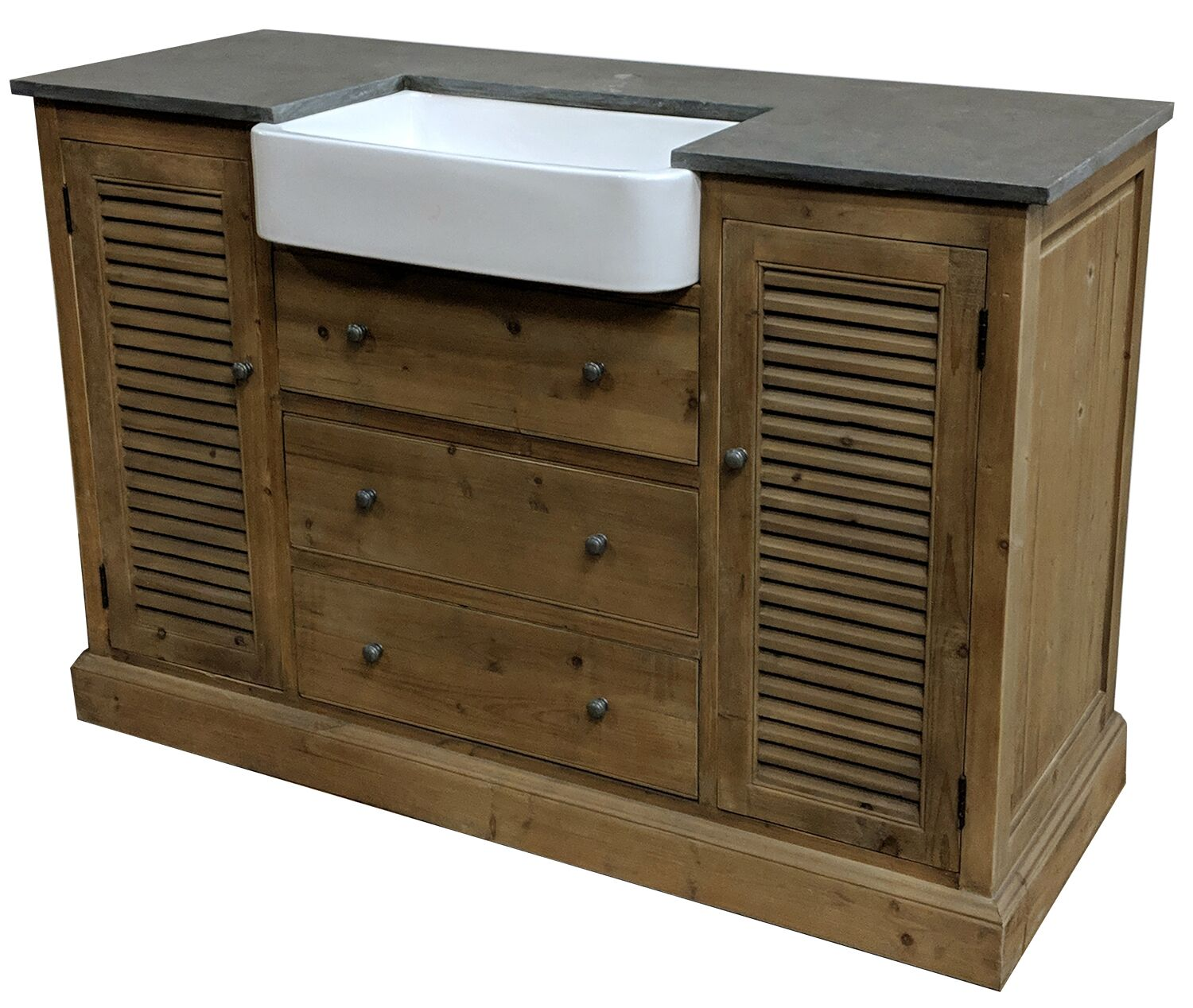 "54"" Handcrafted Reclaimed Pine Solid Wood Single Belgium Sink Bath Vanity"