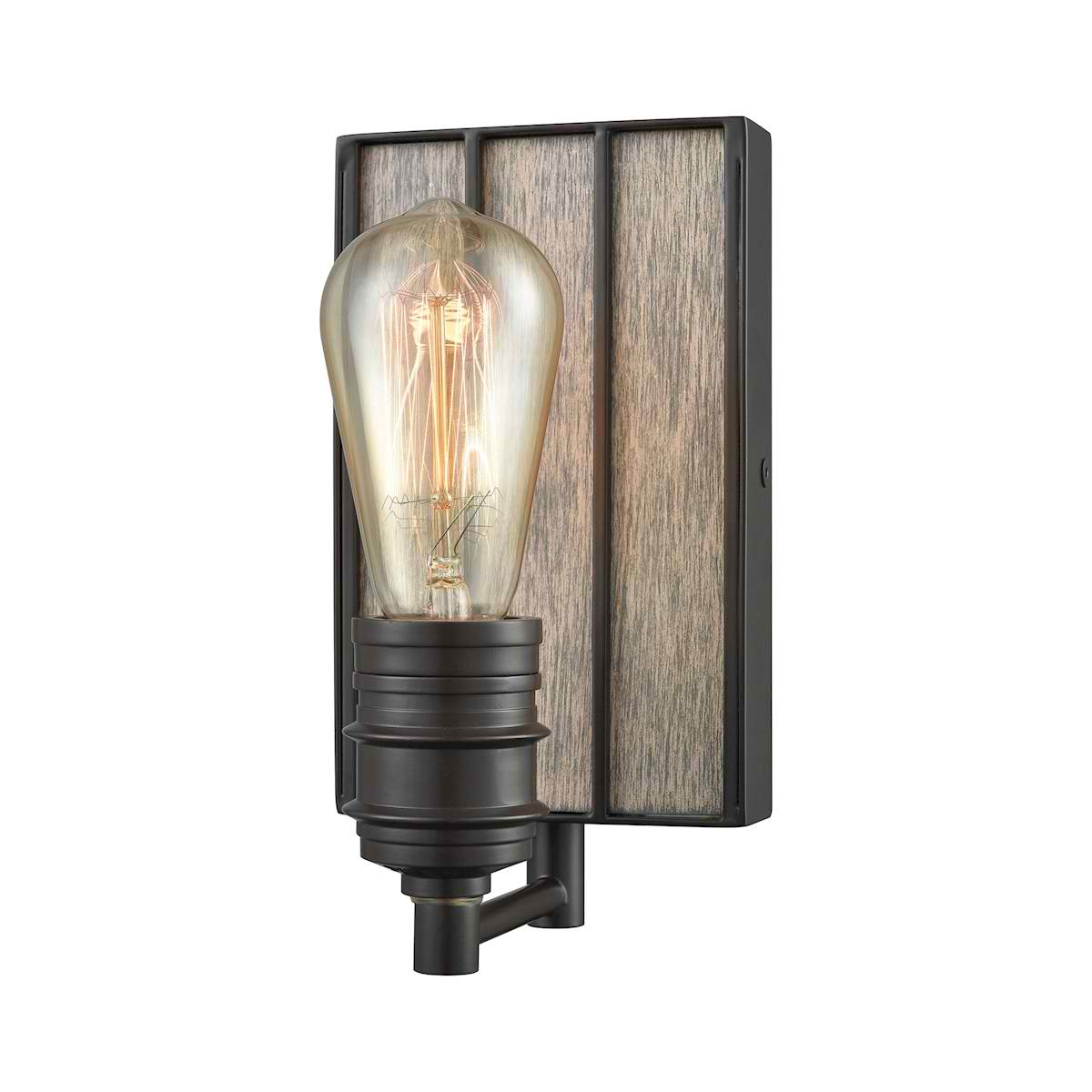 Brookweiler 1 Light Vanity in Oil Rubbed Bronze with Washed Wood Backplate
