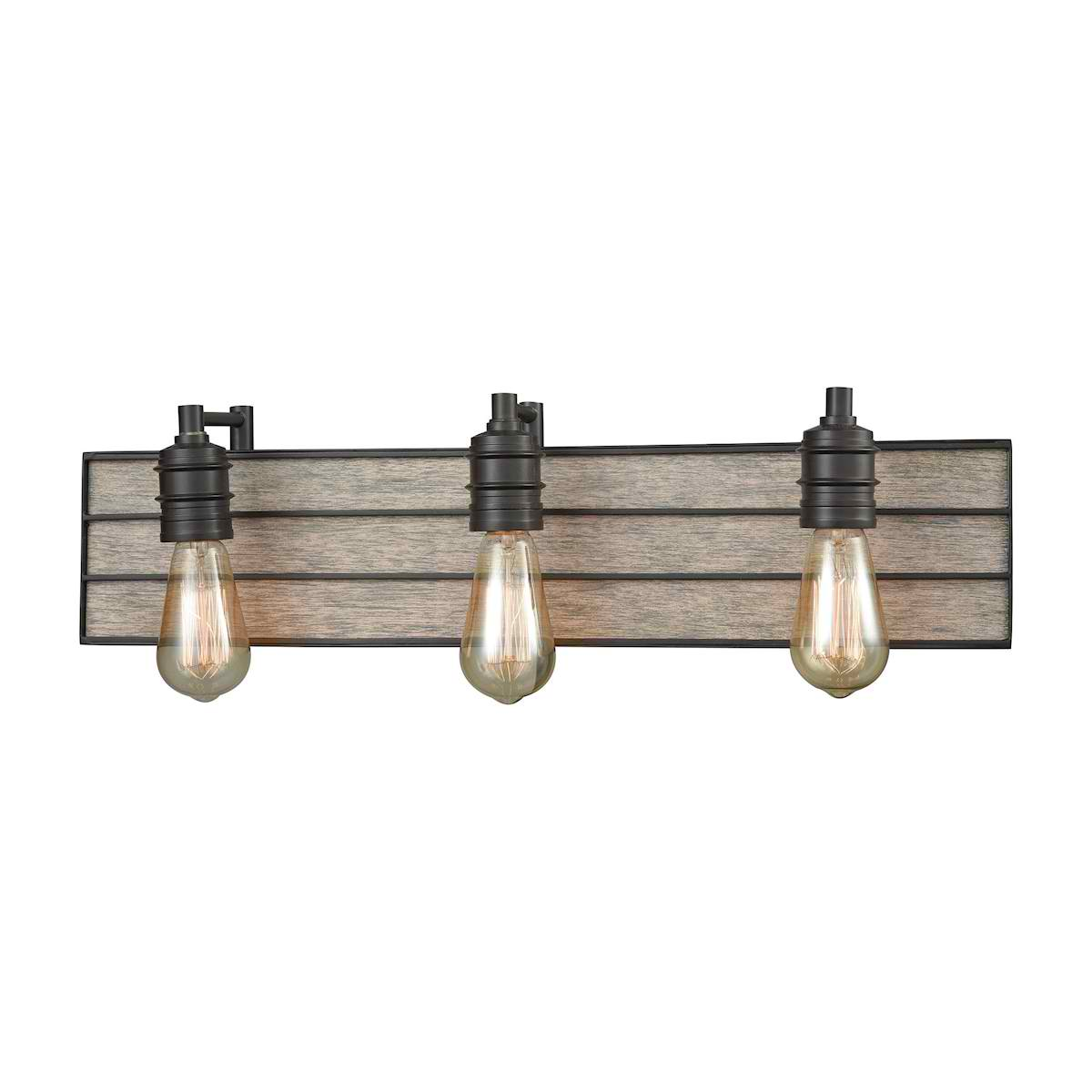 Brookweiler 3 Light Vanity in Oil Rubbed Bronze with Washed Wood Backplate