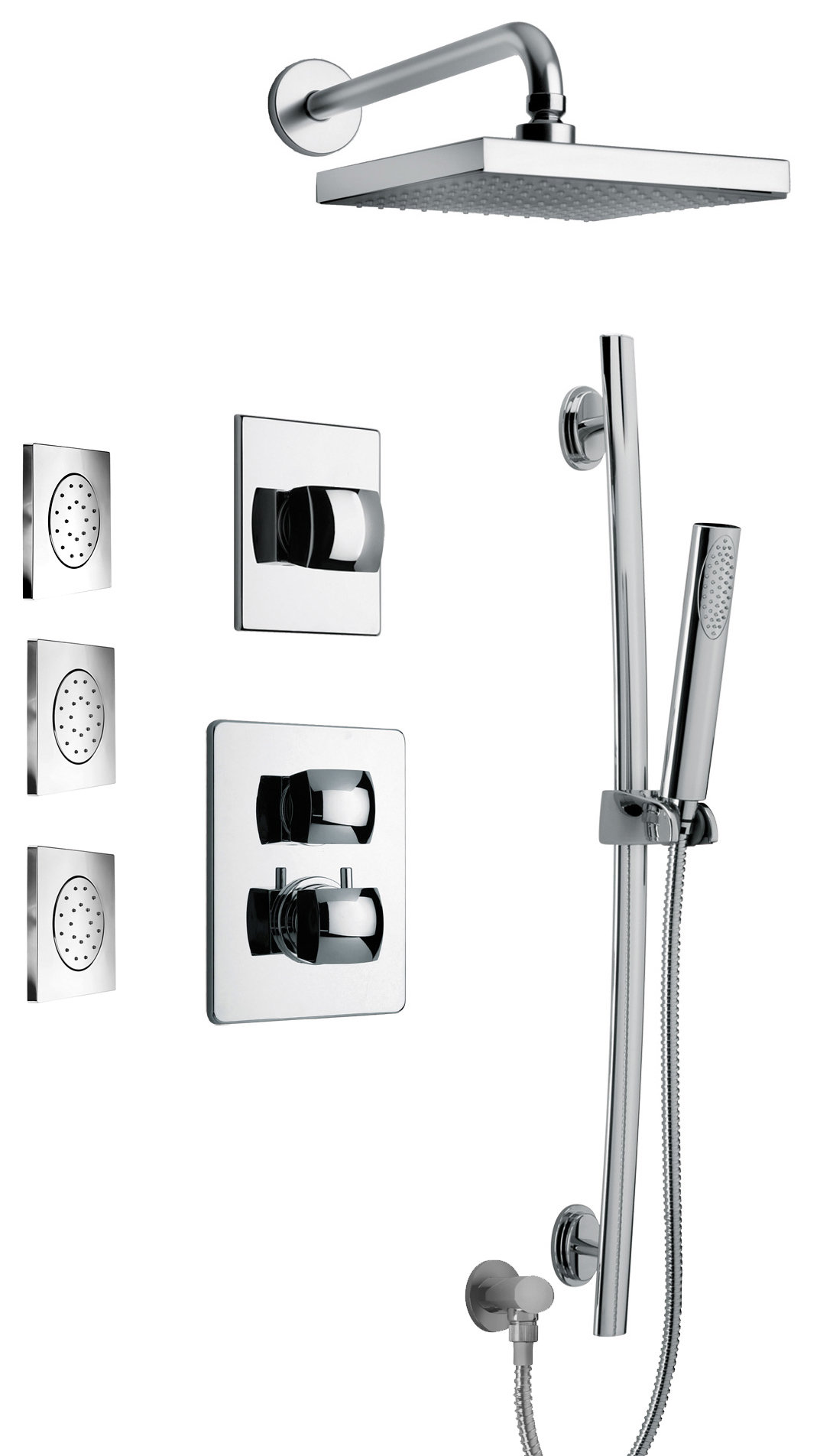 "Thermostatic Shower With 3/4"" Ceramic Disc Volume Control, 3-Way Diverter, Slide Bar, 3 Concealed Body Jets - Chrome Finish"