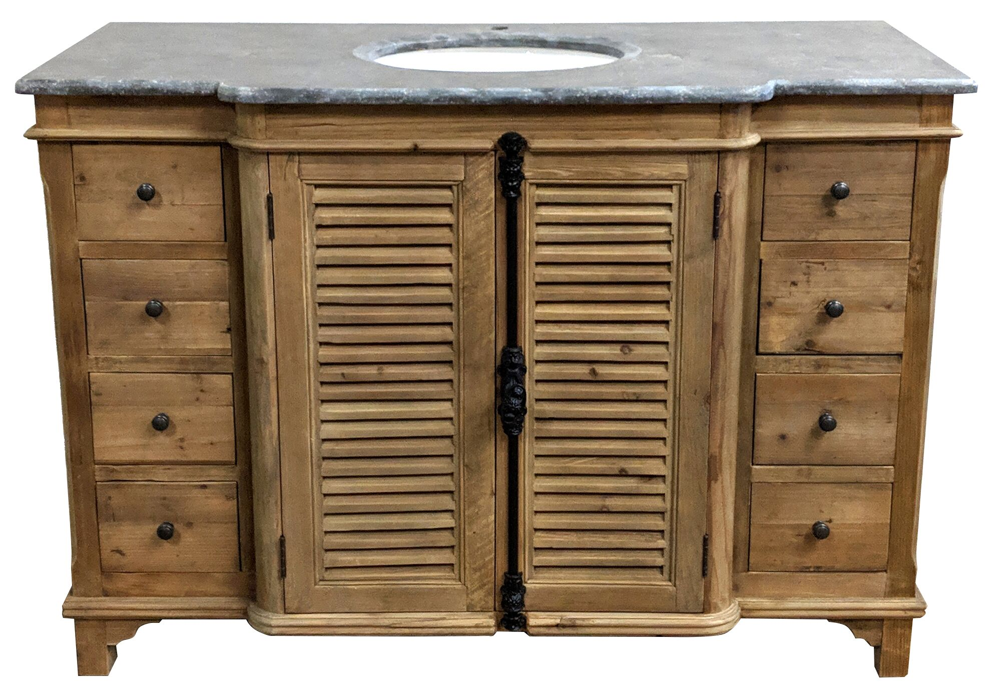 "51"" Handcrafted Reclaimed Pine Solid Wood Single Breakfront Bath Vanity Natural Finish"