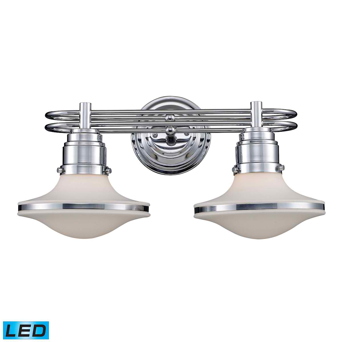 Retrospective 2-Light Bath Bar in Polished Chrome - LED, 800 Lumens (1600 Lumens Total) with Full Scale