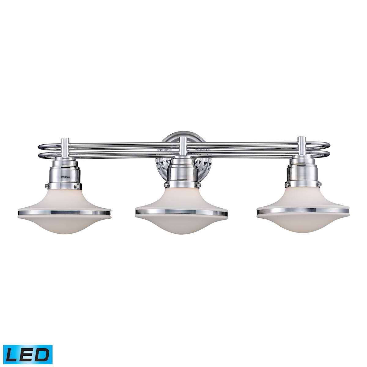 Retrospective 3-Light Bath Bar in Polished Chrome - LED, 800 Lumens (2400 Lumens Total) with Full Scale