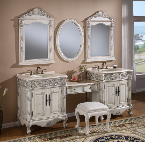 "86"" Adelina Antique Style Double Sink Bathroom Vanity in Antique White Finish with Beige Stone Countertop"
