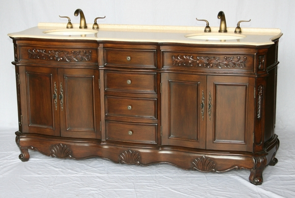 "72"" Adelina Antique Style Double Sink Bathroom Vanity in Walnut Wooden Cabinet Finish with Beige Stone Countertop"