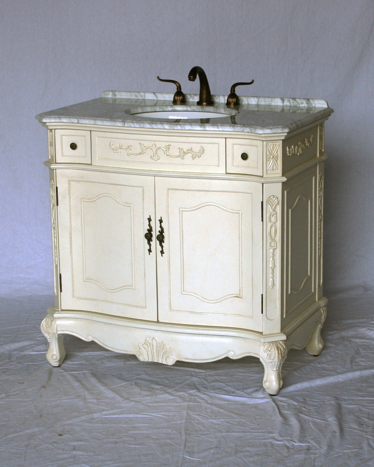 "36"" Adelina Antique Style Single Sink Bathroom Vanity in Antique White Finish with White Italian Carrara Marble Countertop"