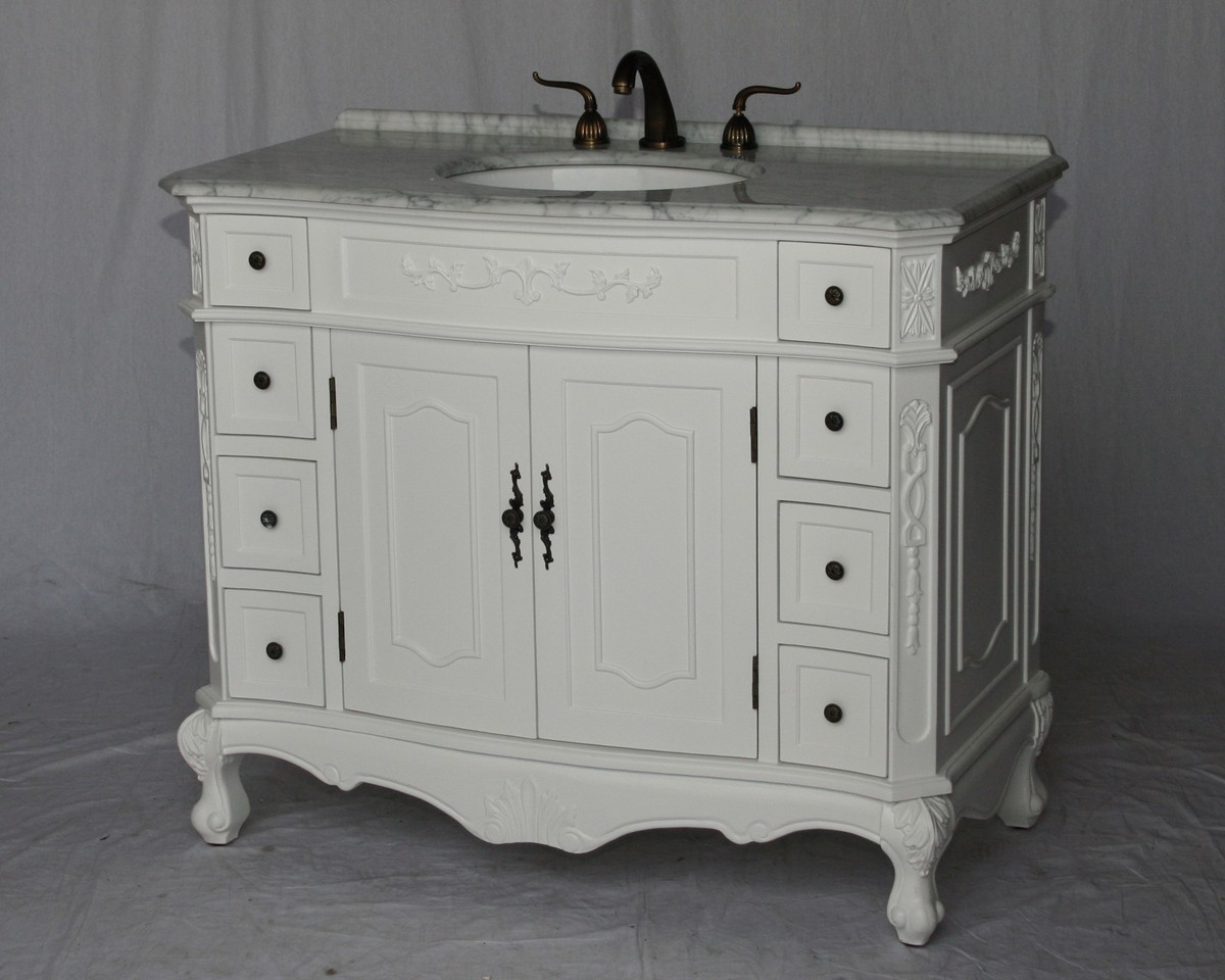 "42"" Adelina Antique Style Single Sink Bathroom Vanity in Pure White Finish with White Italian Carrara Marble Countertop"