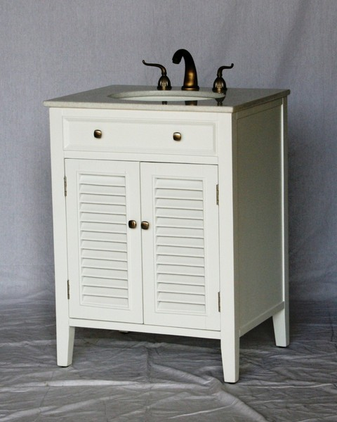 "26"" Adelina Cottage Style Single Sink Bathroom Vanity in Pure White Finish with Beige Stone Countertop"