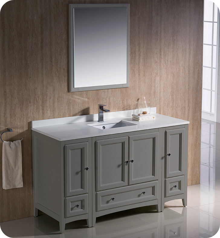 "Fresca Oxford Collection 54"" Traditional Bathroom Vanity with Color, Faucet, Top, Sink and Linen Cabinet Option"
