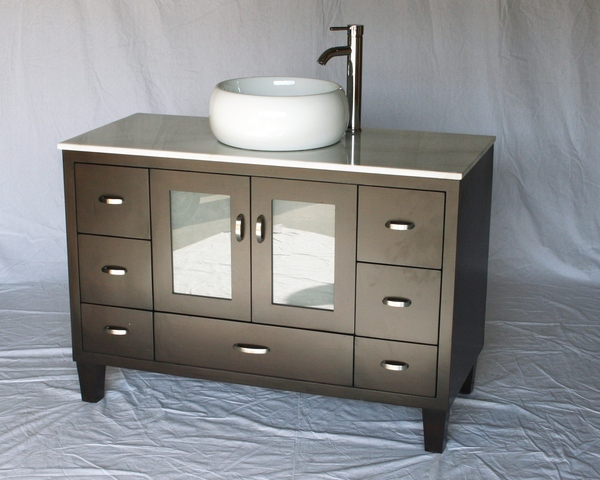 "46"" Adelina Contemporary Style Single Sink Bathroom Vanity in Espresso Finish with Imperial White Stone Countertop and Round White Porcelain Sink"