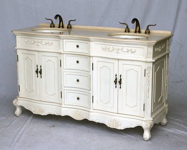 "60"" Adelina Antique Style Double Sink Bathroom Vanity in Antique White Finish with Beige Stone Countertop"