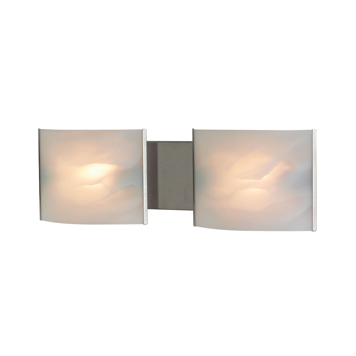 Pannelli Vanity - 2 Light with Lamps. White Alabaster Glass / SS Finish