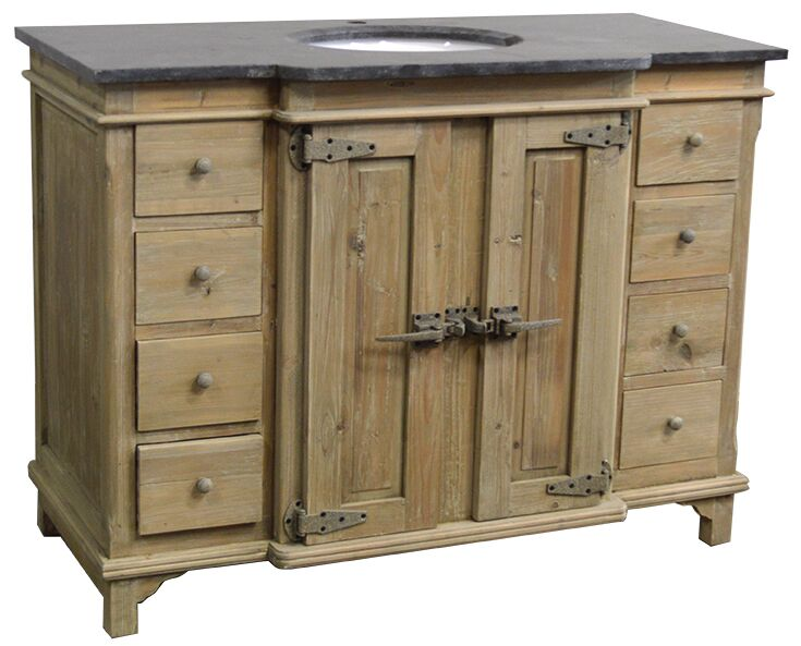 "48"" Handcrafted Reclaimed Pine Solid Wood Single Breakfront Bath Vanity Wash Finish"