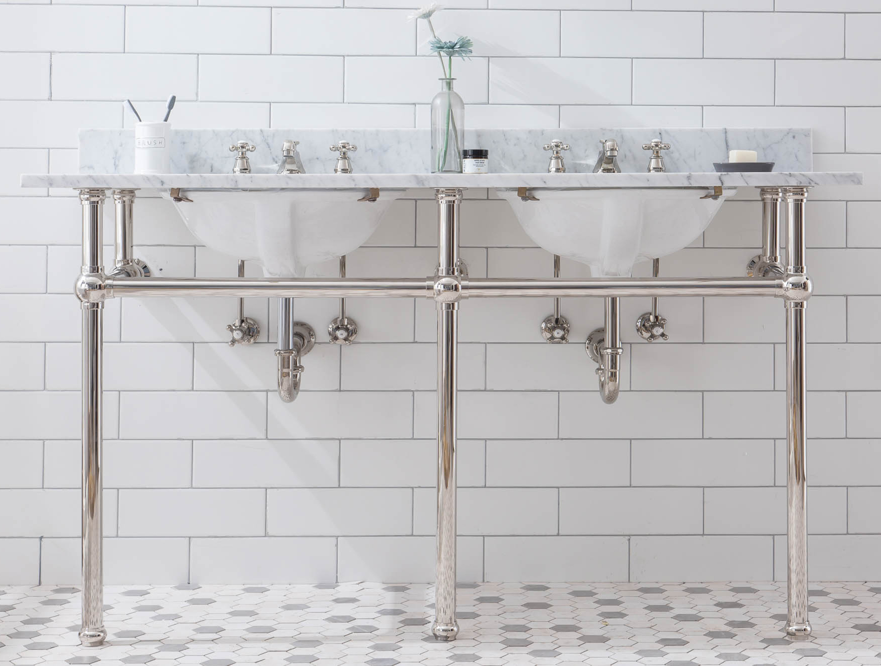 "60"" Wide Double Wash Stand Only in Polished Nickel (PVD) Finish"