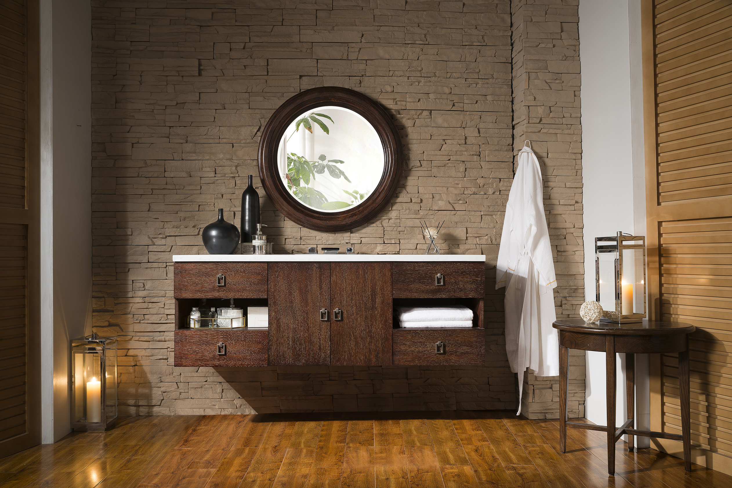 "James Martin Sonoma Collection 60"" Single Vanity, Coffee Oak with Top Options"