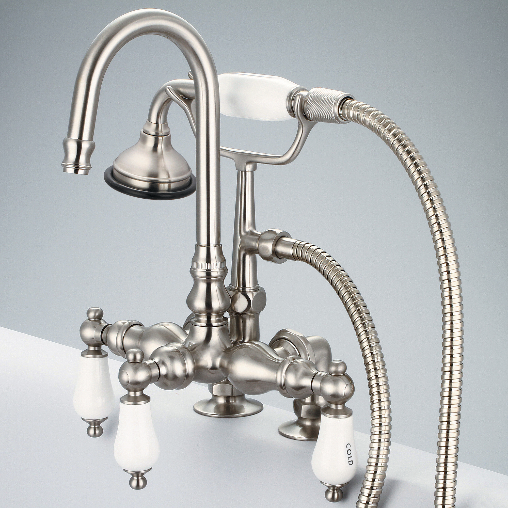 Vintage Classic 3.375 Inch Center Deck Mount Tub Faucet With Gooseneck Spout, 2 Inch Risers & Handheld Shower in Brushed Nickel Finish With Metal Lever Handles Without Labels