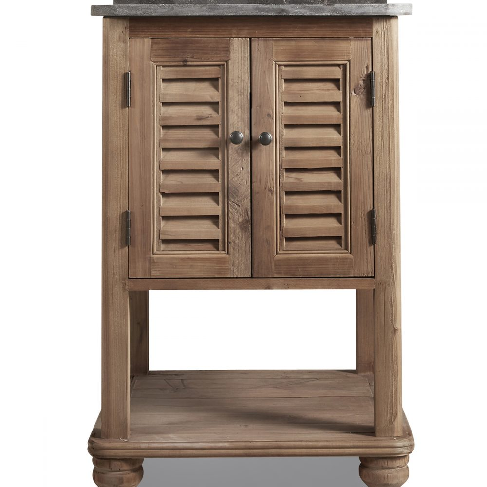 "24"" Reclaimed Pine Dorset Single Bath Vanity Natural Finish with Natural Blue Stone Top"