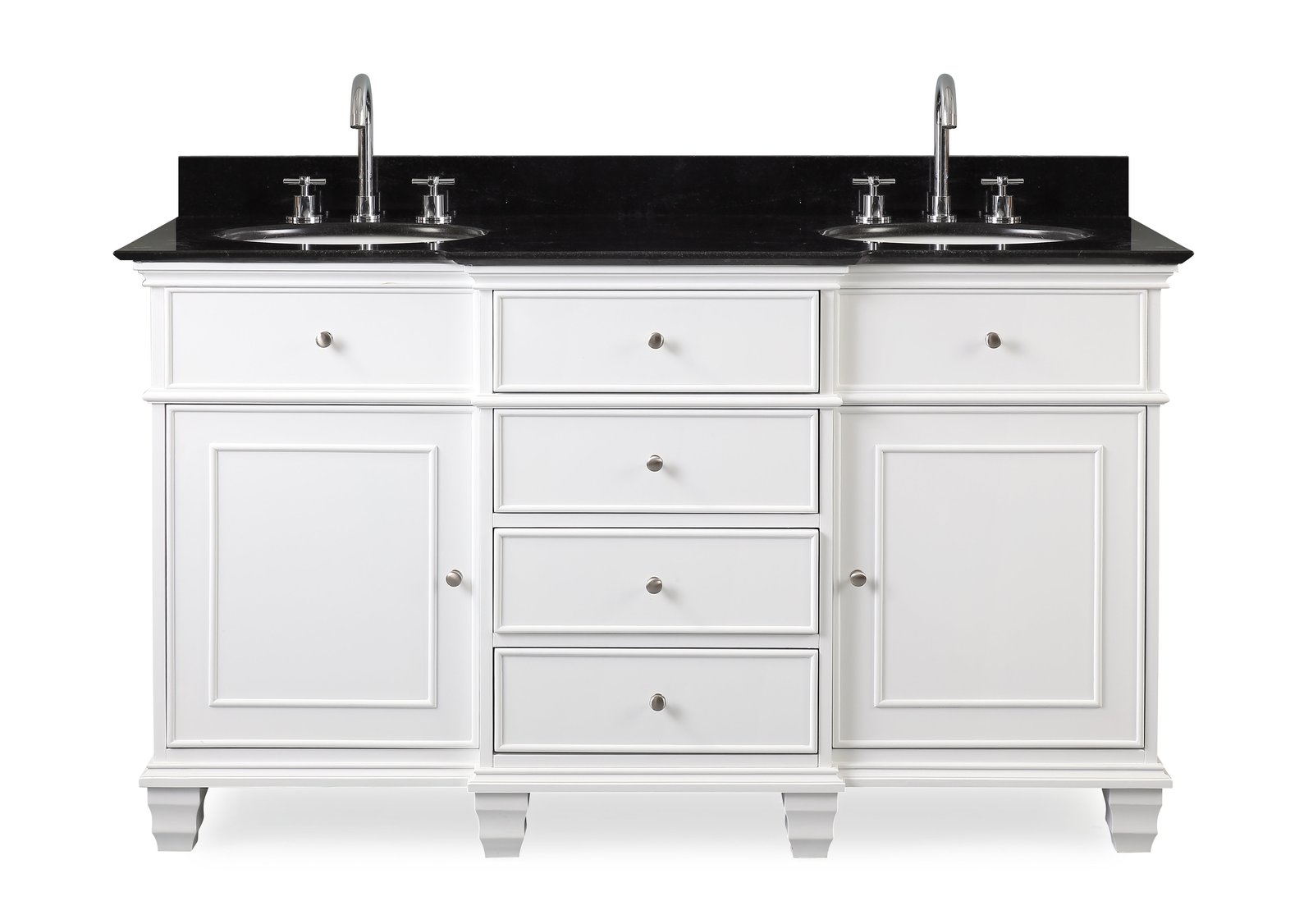 "60"" Comtempory Style Double Sink Bathroom Sink Vanity"