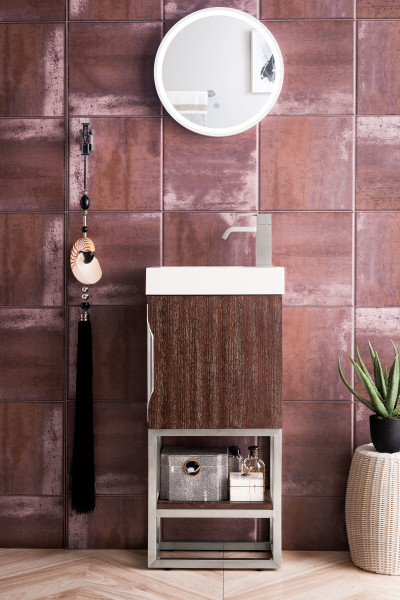 "James Martin Columbia 16"" Single Vanity Cabinet, Coffee Oak with Hardware and Countertop Options"