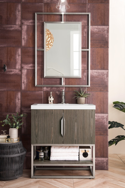 "James Martin Columbia 31.5"" Single Vanity Cabinet, Ash Gray with Hardware and Countertop Options"