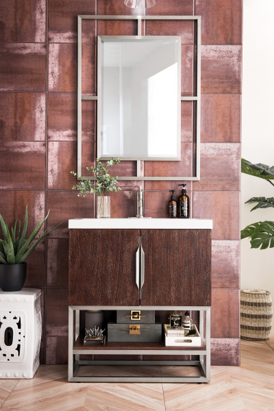 "James Martin Columbia 31.5"" Single Vanity Cabinet, Coffee Oak with Hardware and Countertop Options"