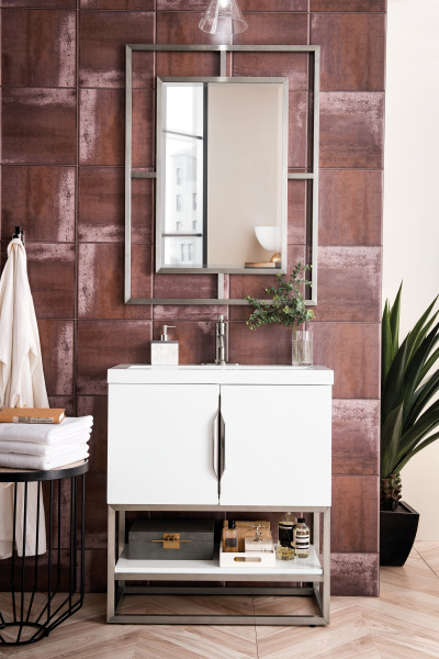 "James Martin Columbia 31.5"" Single Vanity Cabinet, Glossy White with Hardware and Countertop Options"
