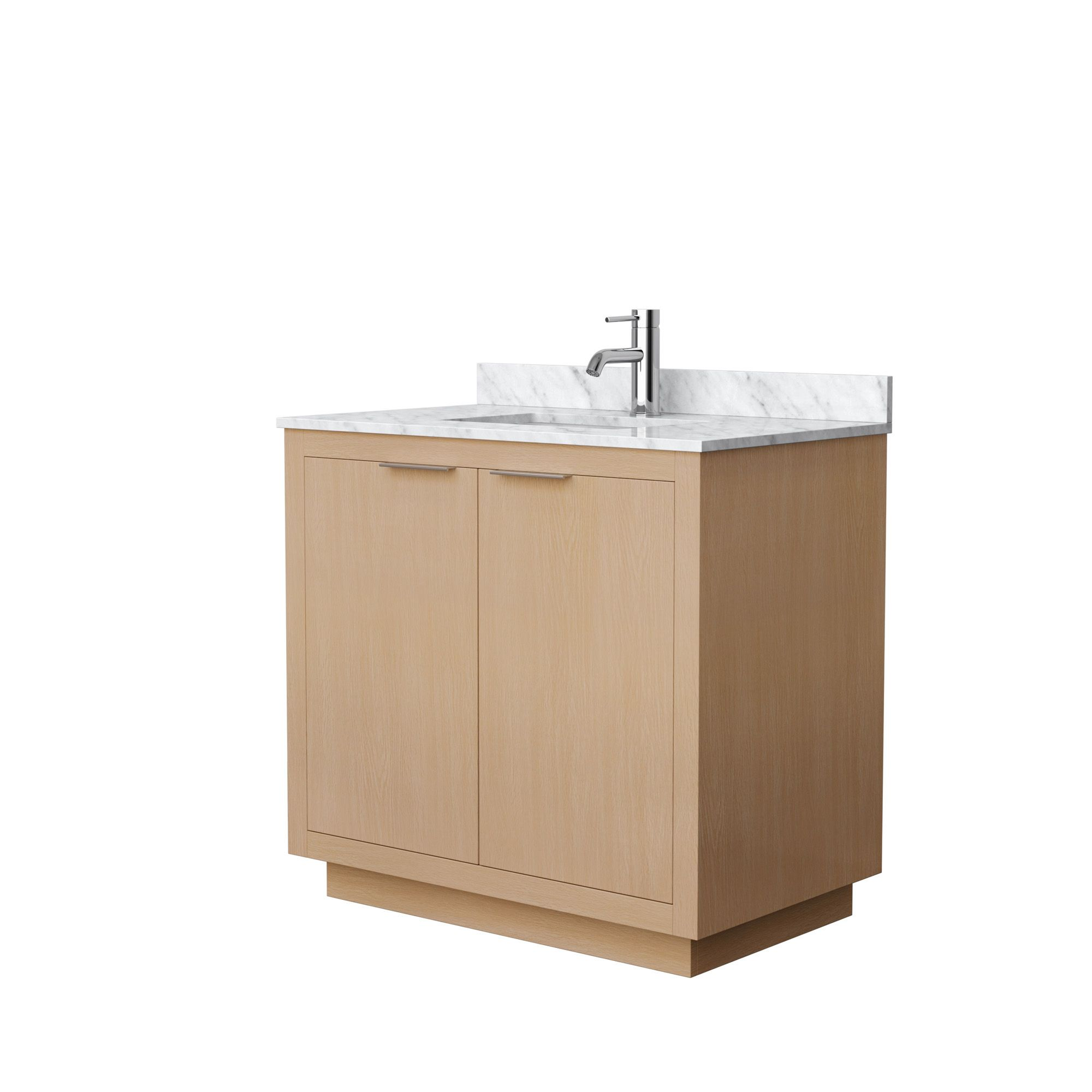 "36"" Single Bathroom Vanity in Light Straw with Countertop and Hardware Options"