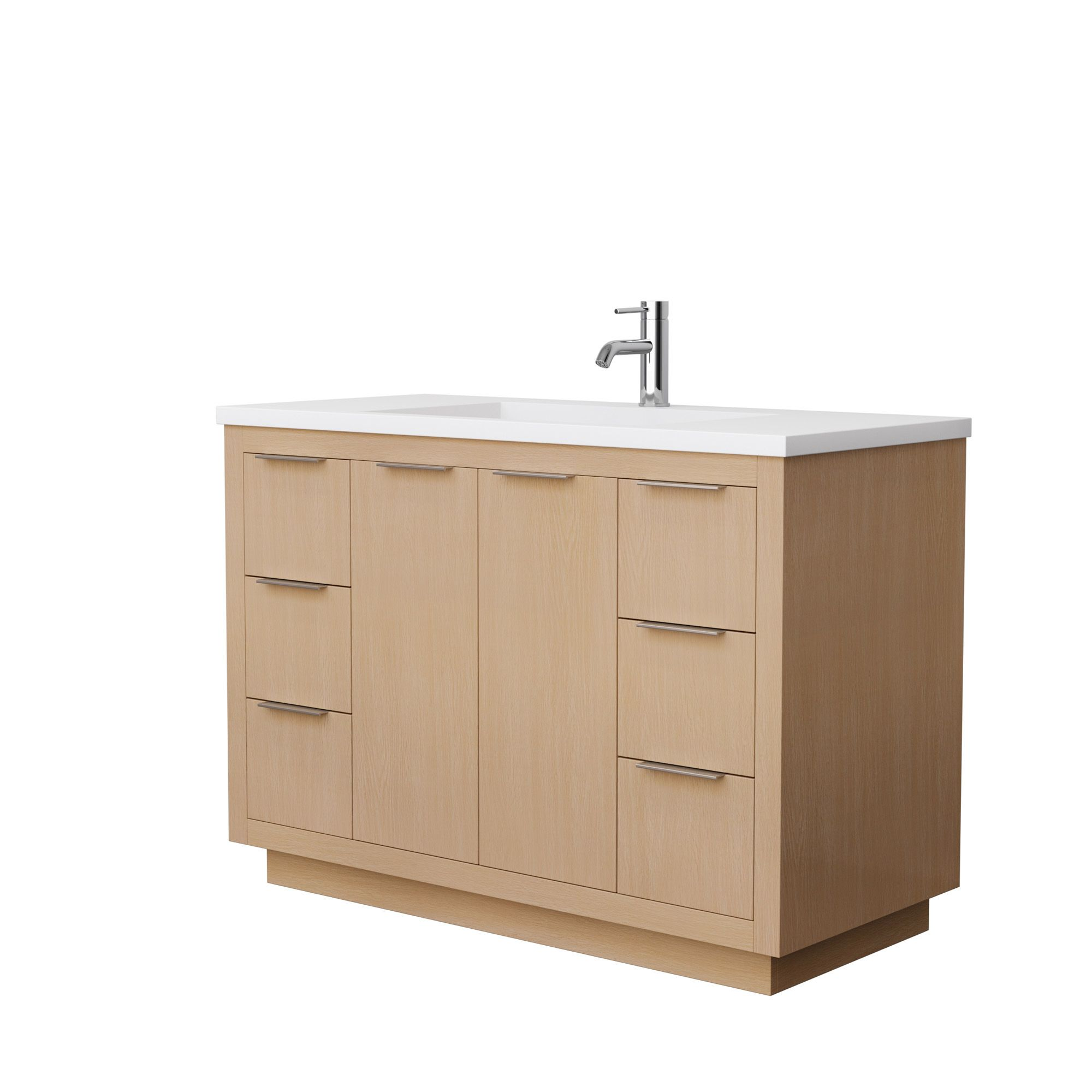 "48"" Single Bathroom Vanity in Light Straw with Countertop and Hardware Options"