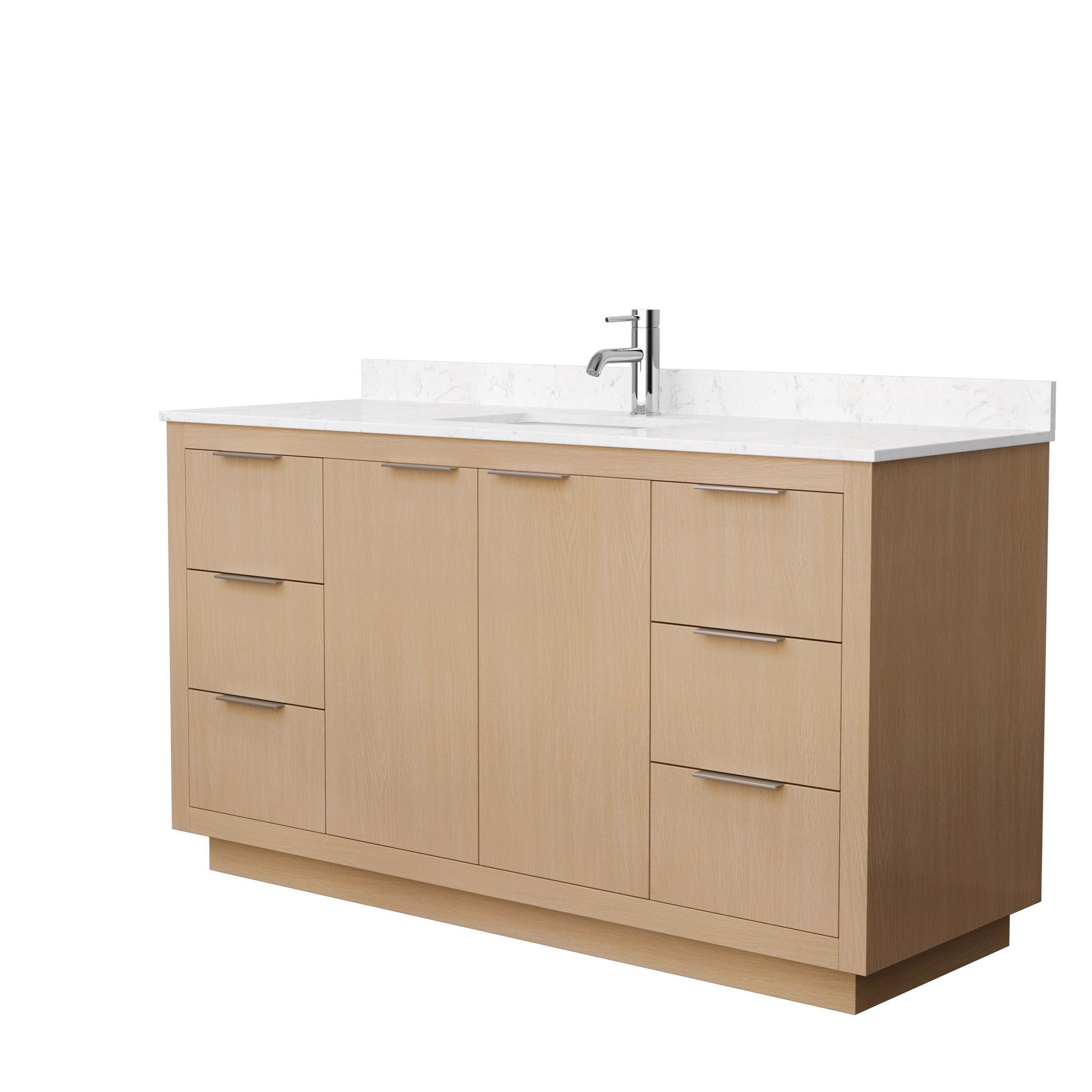 "60"" Single Bathroom Vanity in Light Straw with Countertop and Hardware Options"