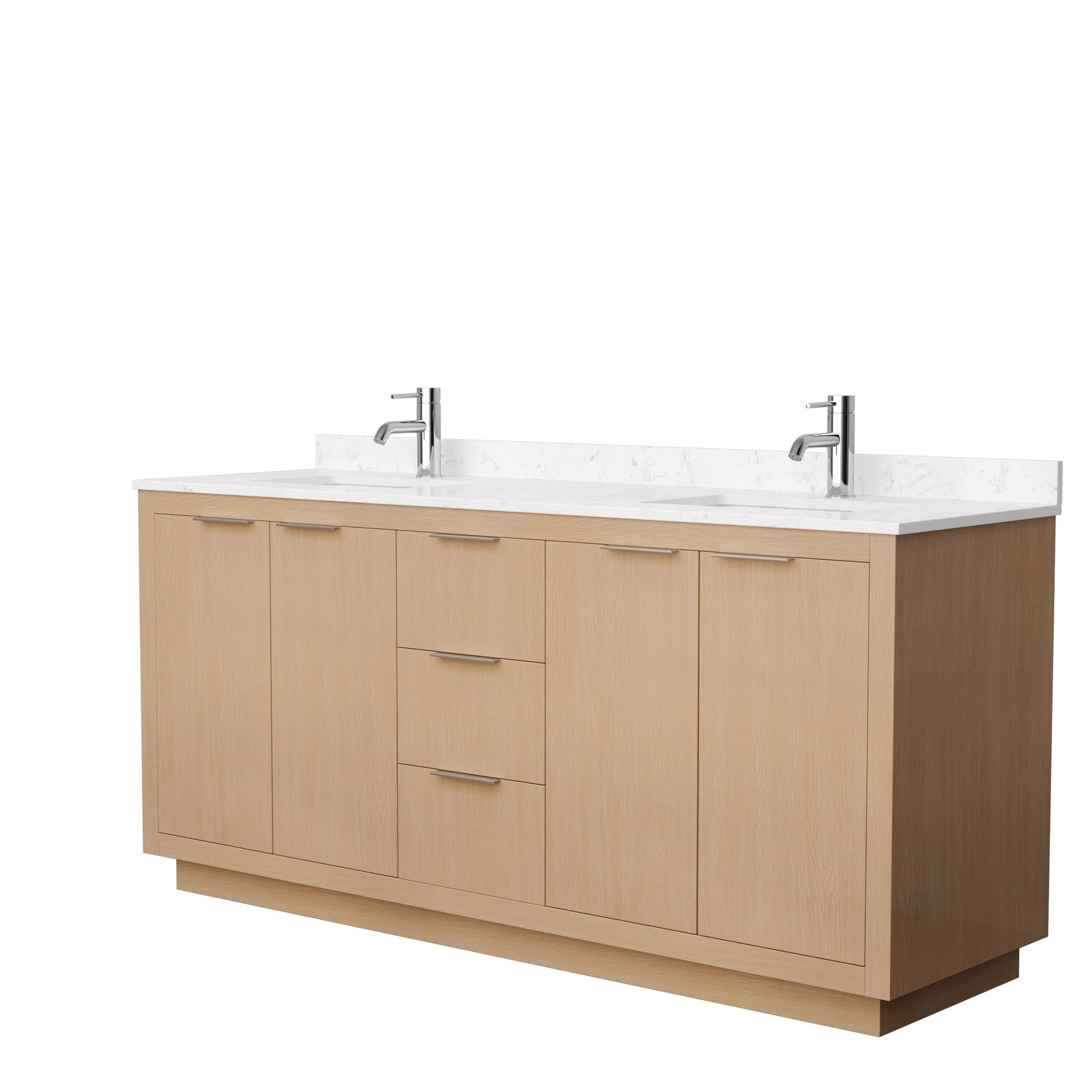 "72"" Double Bathroom Vanity in Light Straw with Countertop and Hardware Options"