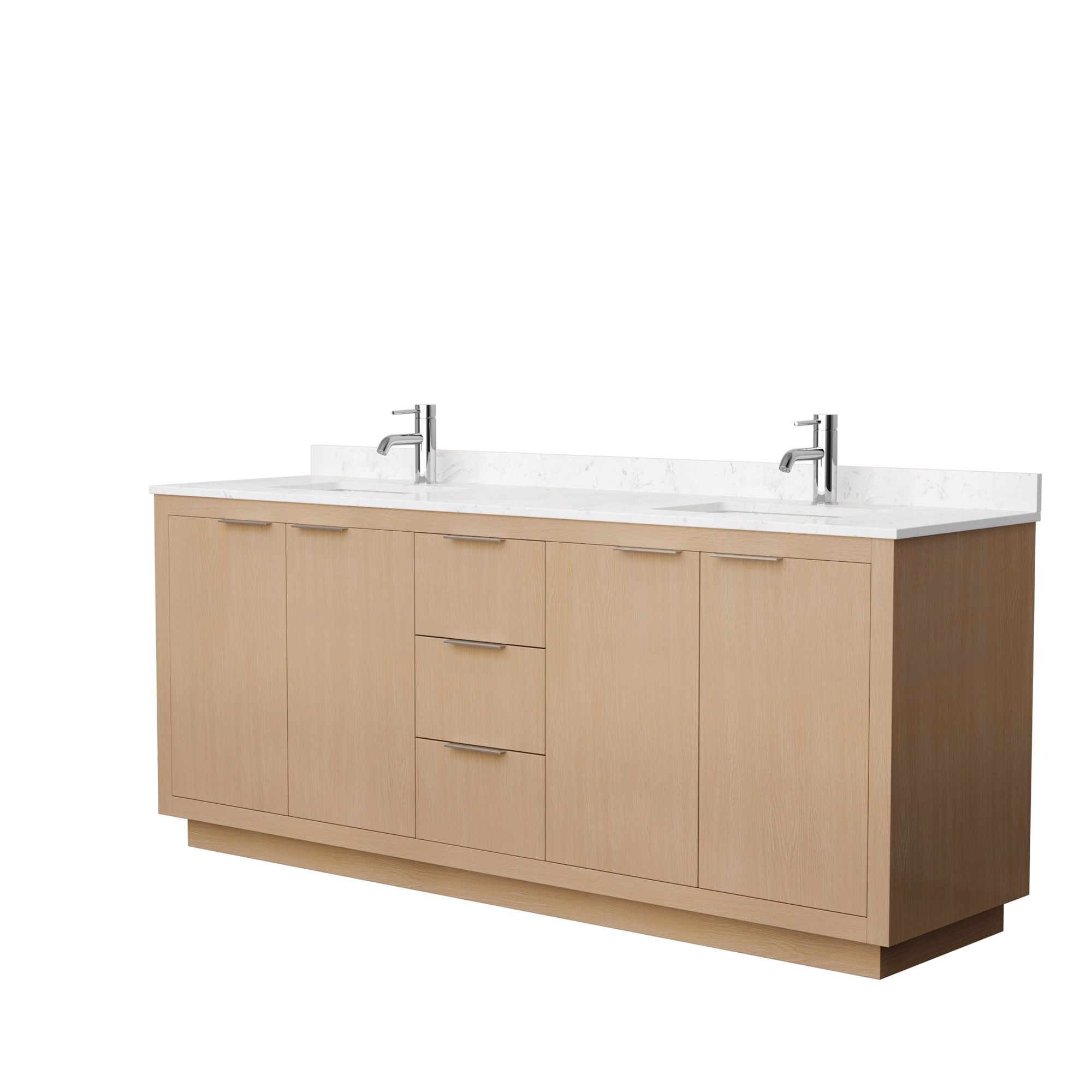 "80"" Double Bathroom Vanity in Light Straw with Countertop and Hardware Options"