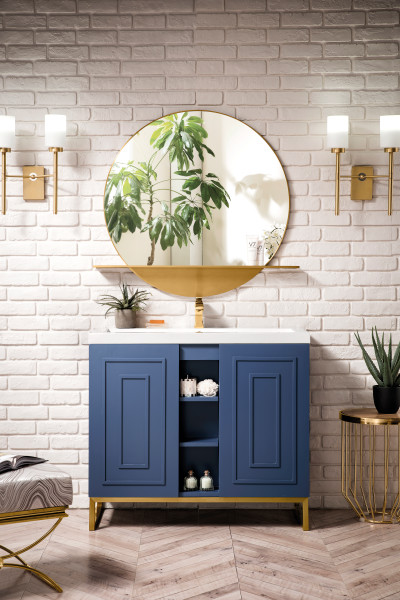 "James Martin Alicante 39.5"" Single Vanity Cabinet, Azure Blue"