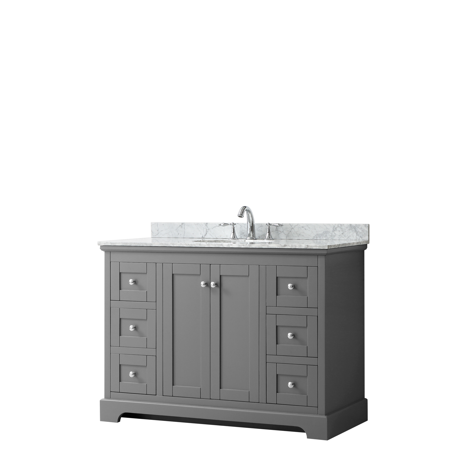 "48"" Single Bathroom Vanity in Dark Gray, No Countertop, No Sink, and No Mirror"