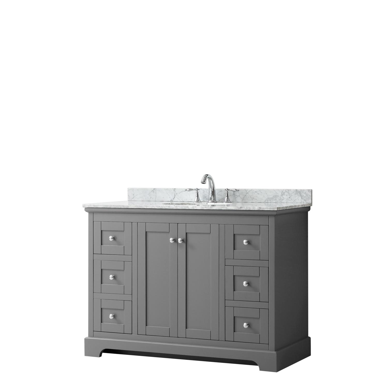 """48"""" Single Bathroom Vanity in Dark Gray, No Countertop, No Sink, and No Mirror"""