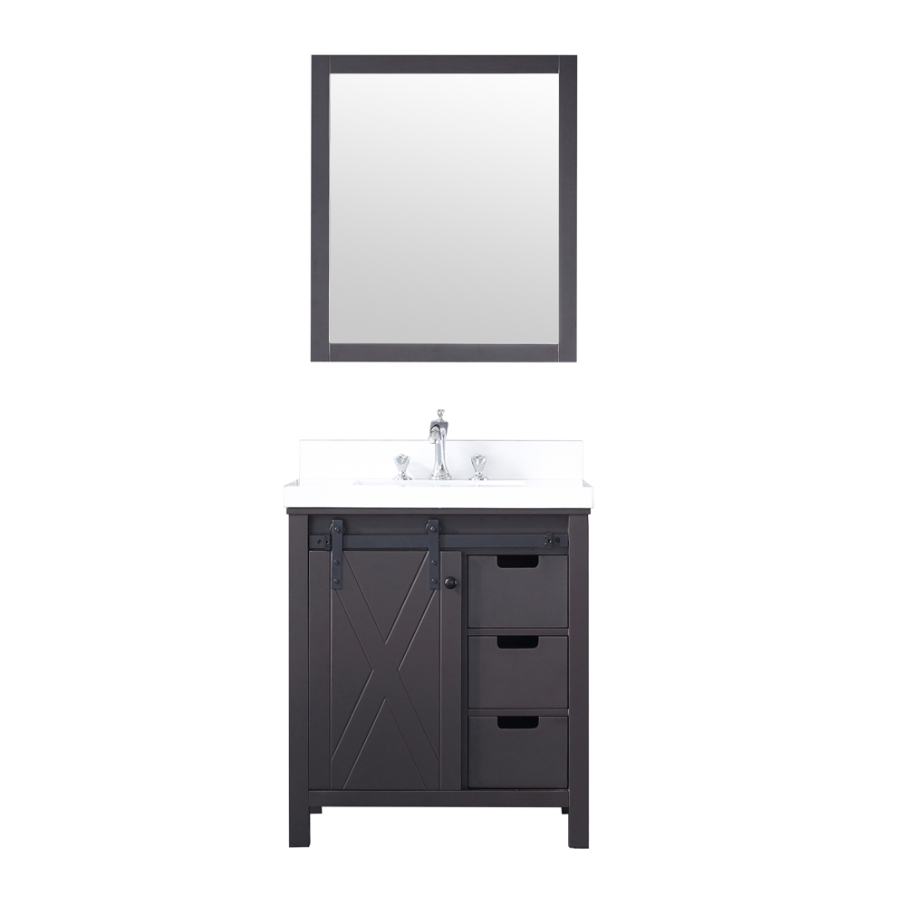 "30"" Brown Vanity Cabinet Only with Countertop and Mirror Option"