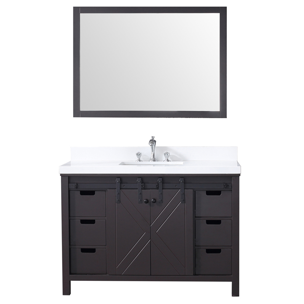 "48"" Brown Vanity Cabinet Only with Countertop and Mirror Options"