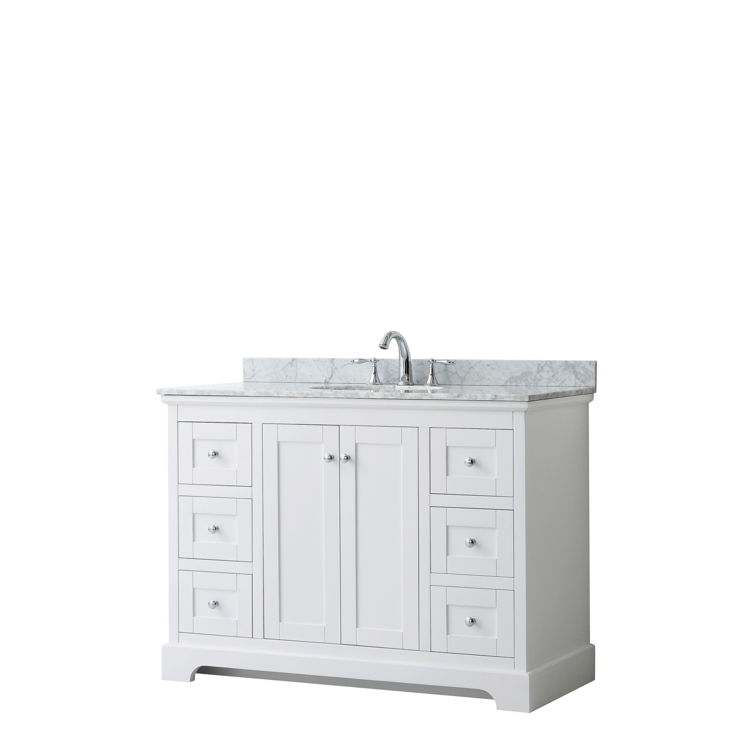 "48"" Single Bathroom Vanity in White, No Countertop, No Sink, and No Mirror"