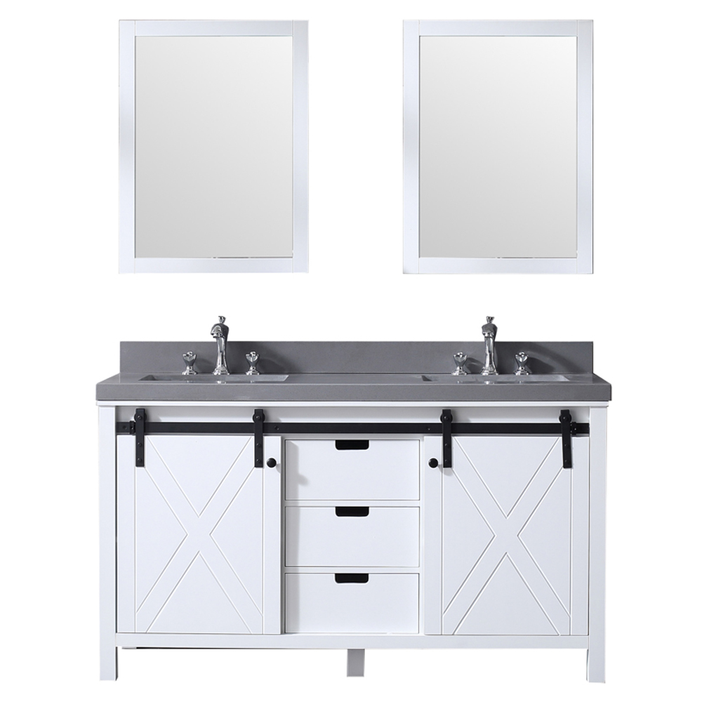 "60"" White Vanity Cabinet Only with Mirror and Top Options"