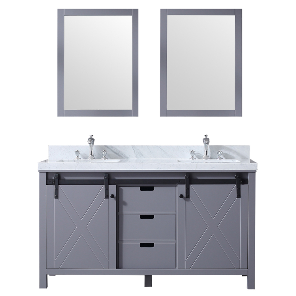 "60"" Dark Grey Vanity Cabinet Only with Top and Mirror Options"