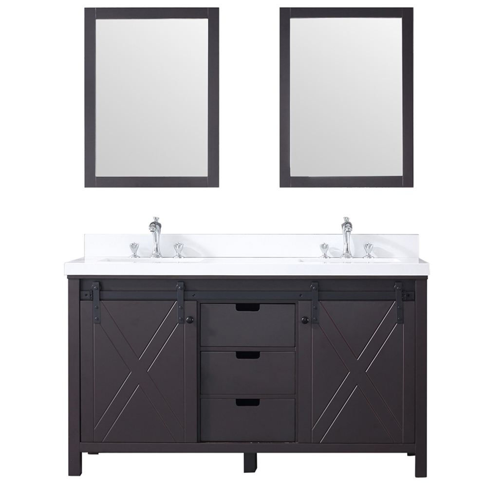 "60"" Brown Vanity Cabinet Only with Countertop and Mirror Options"