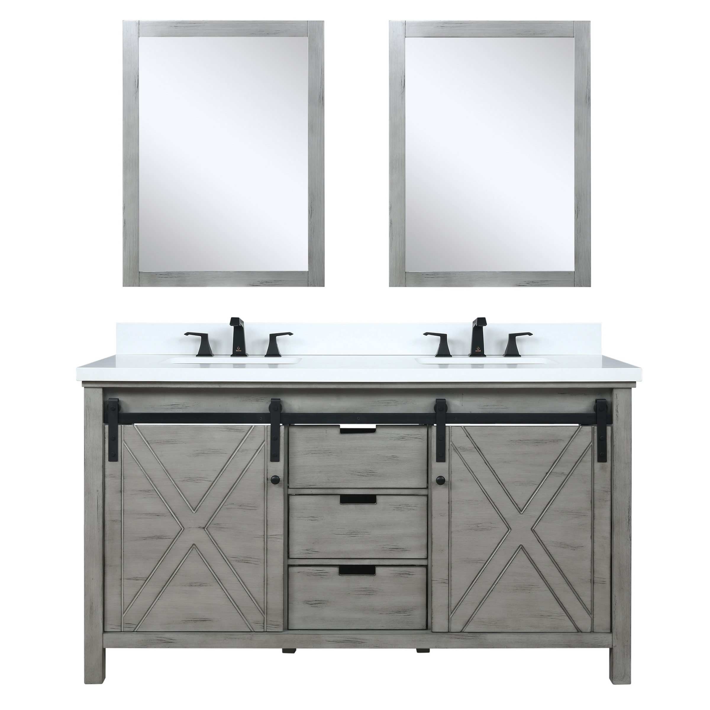 "60"" Ash Grey Vanity Cabinet Only with Countertop and Mirror Options"
