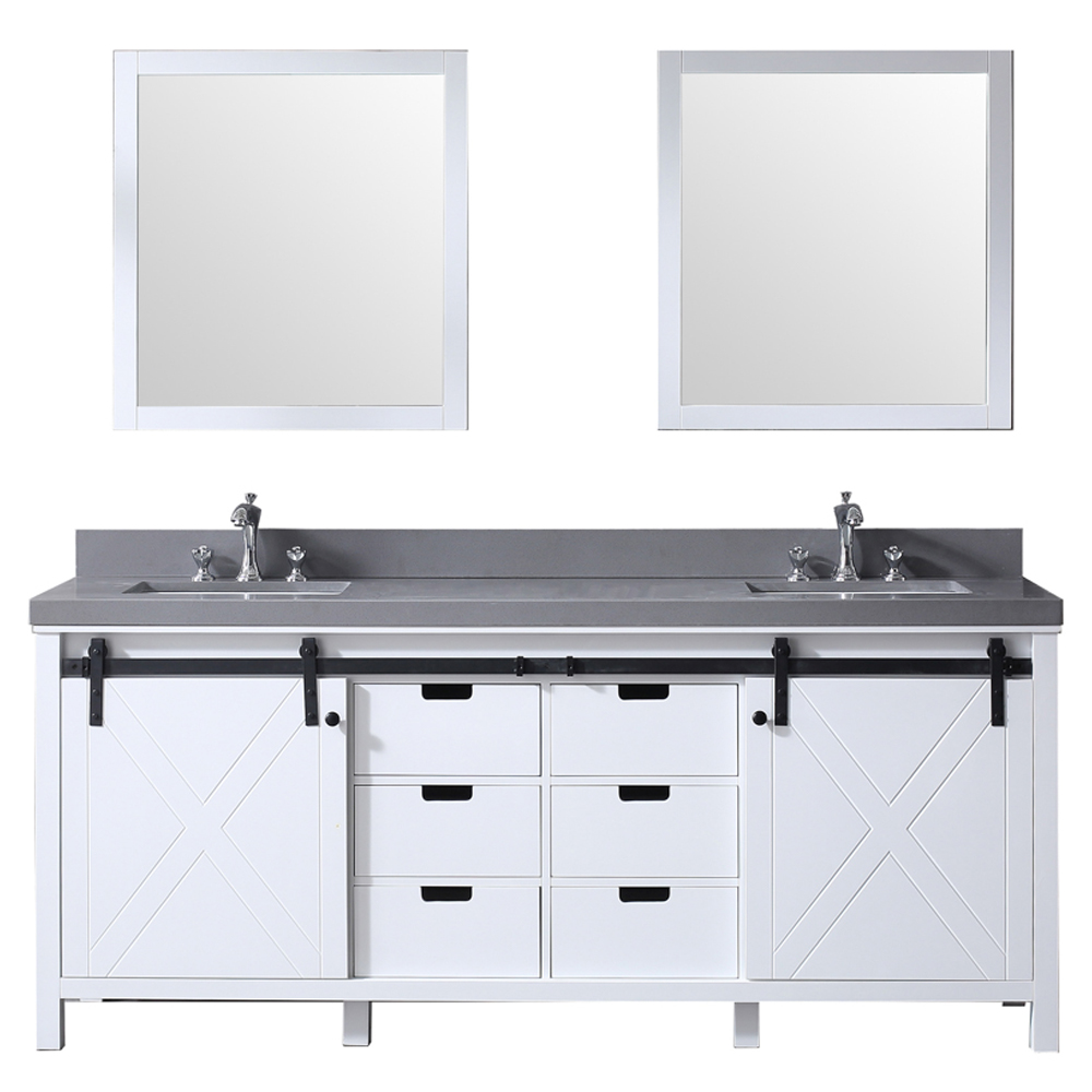 "80"" White Vanity Cabinet Only with Mirror and Top Options"