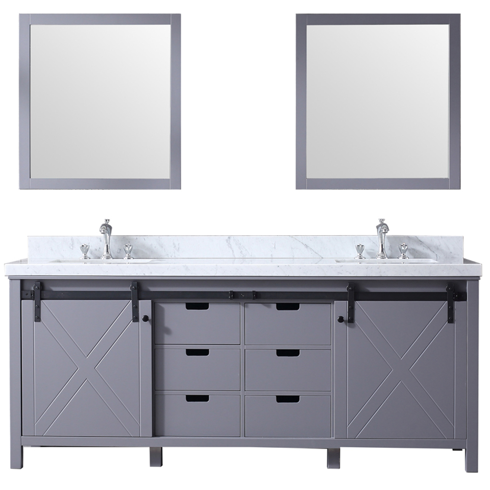 "80"" Dark Grey Vanity Cabinet Only with Top and Mirror Option"