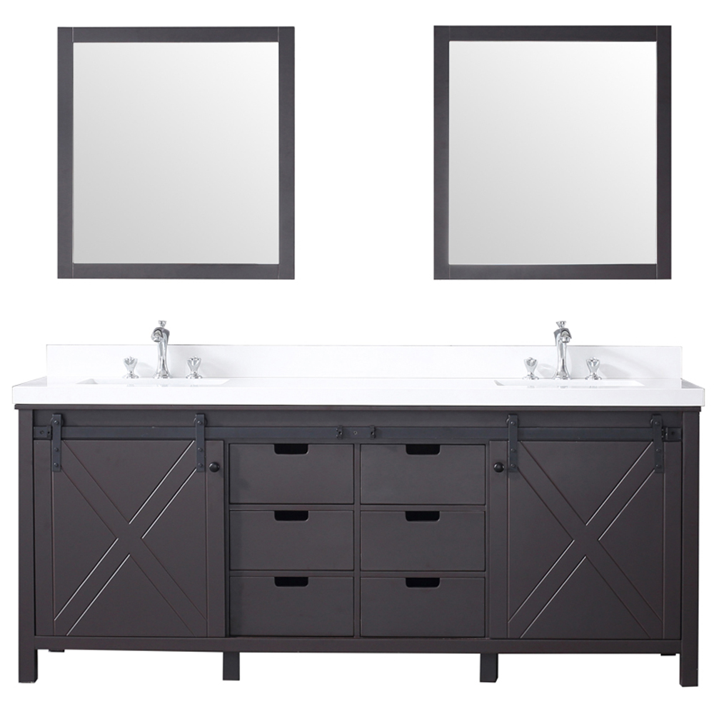 "80"" Brown Vanity Cabinet Only with Countertop and Mirror Options"