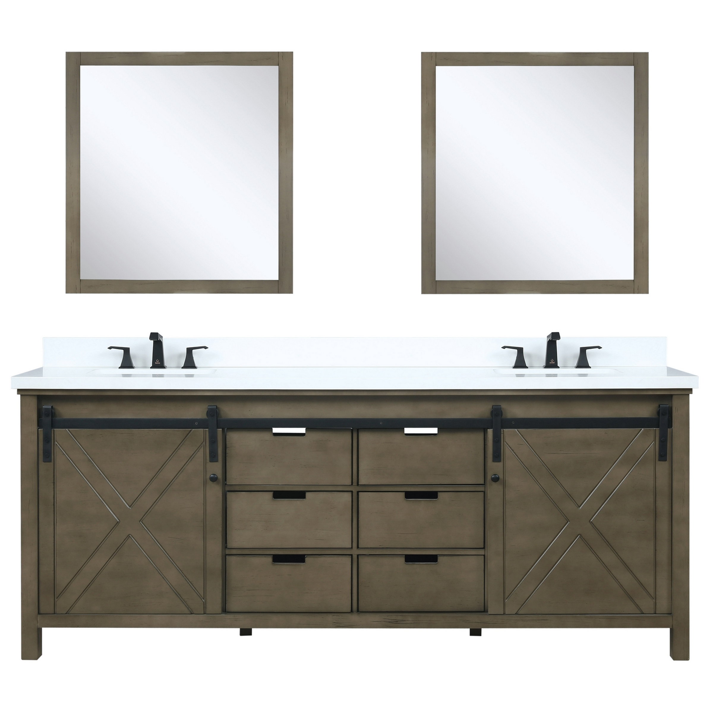"80"" Rustic Brown Vanity Cabinet Only with Countertop and Mirror Options"
