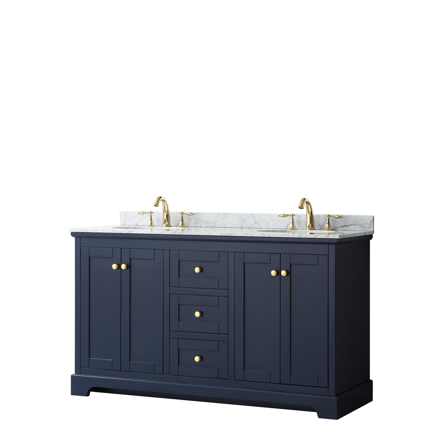 "60"" Double Bathroom Vanity in Dark Blue, No Countertop, No Sinks, and No Mirror"